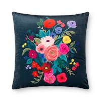 Midnight and Multi Color Floral Printed Throw Pillow