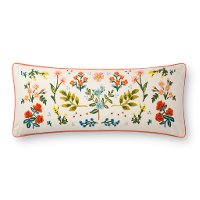 Ivory and Multi Color Rectangle Floral Throw Pillow