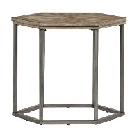 Ash Blonde and Metal Hexagonal End Table - Adison Cove