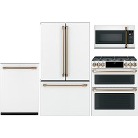 KIT Cafe 4 Piece Kitchen Appliance Package with Double Oven Gas Range - White