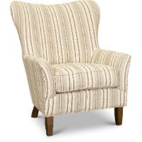 Traditional Striped Beige Wing Chair - Swift