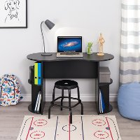 Small Black Student Desk with Storage