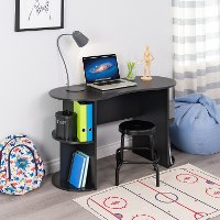 Small Black Student Desk With Storage 2