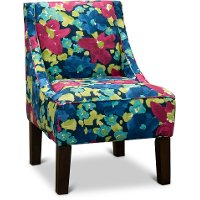 72-1EVNFLRFCH Fuchsia, Blue and Green Floral Accent Chair - Rebecka