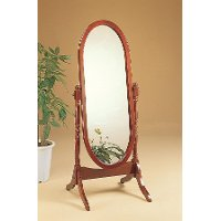 Warm Brown Traditional Cheval Mirror - Abram