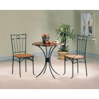 Casual Honey and Black 3 Piece Dining Set - Alessio