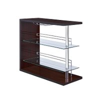 Brown and Chrome Bar Shelf Unit - Alfeo