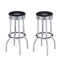 Retro Black and Chrome 30 Inch Barstool - Abigail