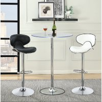 Contemporary Chrome and Glass LED Bar Table - Braden