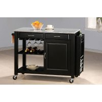 Black Kitchen Island Bar Cart on Wheels with Granite Top - Aldo