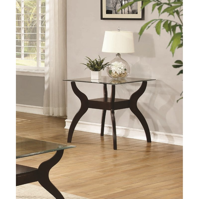 Casual Glass Top End Table - Cooper