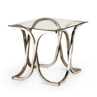 Contemporary Chrome and Glass End Table - Chevy