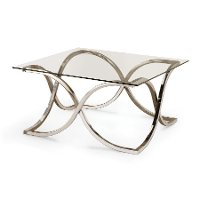Contemporary Chrome and Glass Coffee Table - Claudio