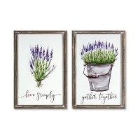 Assorted Multi Color Lavender Tin and Wood Wall Plaque