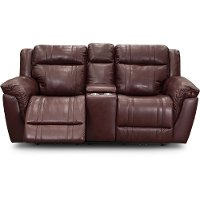 Marvelous Chili Red Leather Match Power Reclining Console Loveseat With Adjustable Headrest Trent Uwap Interior Chair Design Uwaporg