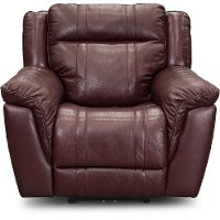 Chili Red Leather-Match Power Recliner with Adjustable Headrest - Trent