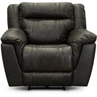 Charcoal Gray Leather-Match Power Recliner with Adjustable Headrest - Trent