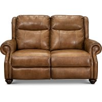 Toffee Brown Leather Power Reclining Loveseat with Power Headrest - Hancock