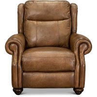 Toffee Brown Leather Power Recliner with Power Headrest - Hancock