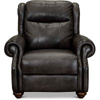 Dusk Gray Leather Power Recliner with Power Headrest - Hancock