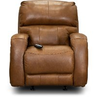 SoCozi Amber Brown Leather-Match Rocker Power Recliner - Fame