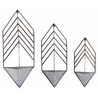 18 Inch Galvanized Metal Arrow Shaped Wall Hanging Planter
