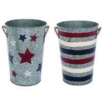 Assorted Blue, White and Red Patriotic Metal Planter