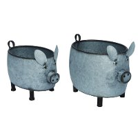 10 Inch Metal Country Pig Planter