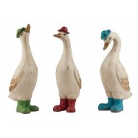 Assorted Multi Color Duck Figurine with Boots and Hats