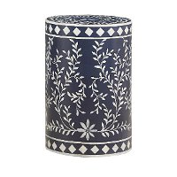 Royal Blue Round Drum Accent Table with White Vine Detailing