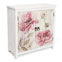Whitewash and Floral 2 Door Cabinet - Botanical