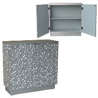 Silver Leaf Flowered Contemporary 2 Door Cabinet - Alma