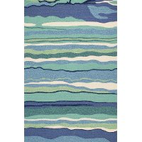 8 x 10 Large Blue and Turquoise Indoor-Outdoor Rug - Harbor