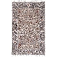 8 x 10 Large Traditional Gray and Rust Area Rug - Grayson
