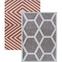 5 x 7 Medium Coral and Dune Indoor-Outdoor Rug - Outdurable