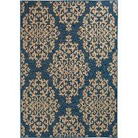 5 x 8 Medium Cobalt Blue and Beige Indoor-Outdoor Rug - Trisha Yearwood Gather