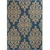 8 x 11 Large Cobalt Blue and Beige Indoor-Outdoor Rug - Trisha Yearwood Gather
