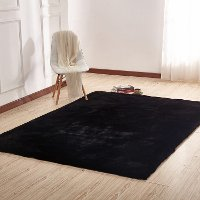 8 x 10 Large Faux Fur Black Area Rug - Chinchilla
