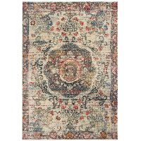 8 x 11 Large Ivory and Multi-Colored Area Rug - Pandora