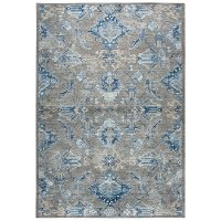 5 x 8 Medium Traditional Gray, Ivory and Blue Rug - Gossamer