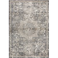 8 x 11 Large Traditional Gray and Beige Area Rug - Panache
