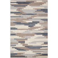 CCN1003-576 5 x 8 Medium Denim Blue and Taupe Area Rug - Cocoon