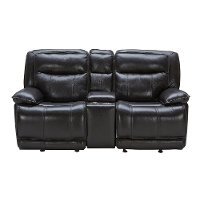 Blackberry Leather-Match Power Gliding Reclining Loveseat with Console - Triple-Play