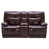 Bordeaux Burgundy Leather-Match Power Gliding Reclining Loveseat with Console - Triple-Play