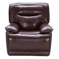 Bordeaux Burgundy Leather-Match Power Recliner - Triple-Play