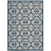 5 x 7 Medium Blue, Taupe, and Cream Indoor-Outdoor Rug - Waverly Sun' Shade