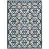 8 x 11 Large Blue, Taupe, and Cream Indoor-Outdoor Rug - Waverly Sun' Shade