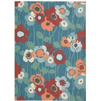 8 x 11 Large Blue, White and Papaya Indoor-Outdoor Rug - Waverly Sun Shade