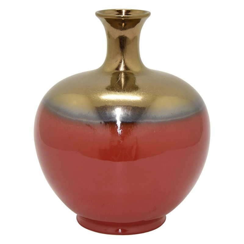 12 inch red and bronze ceramic narrow neck vase rcwilley image1~800