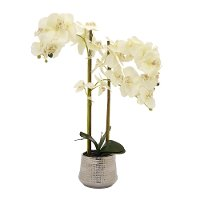 Faux Orchid Flower Pot Arrangement
